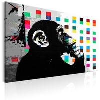 Schilderij - De Denkende Aap , Banksy