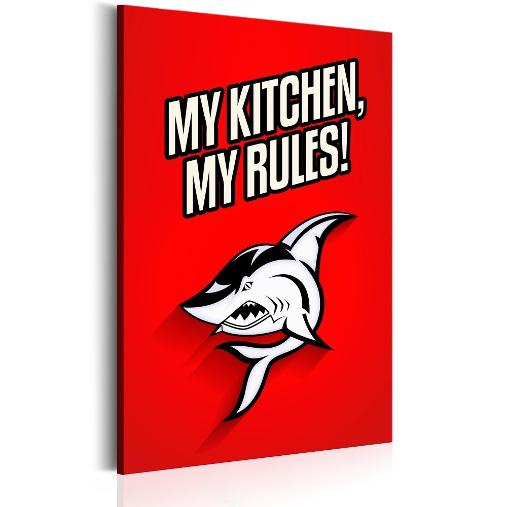 Schilderij - My kitchen, my rules!, Rood