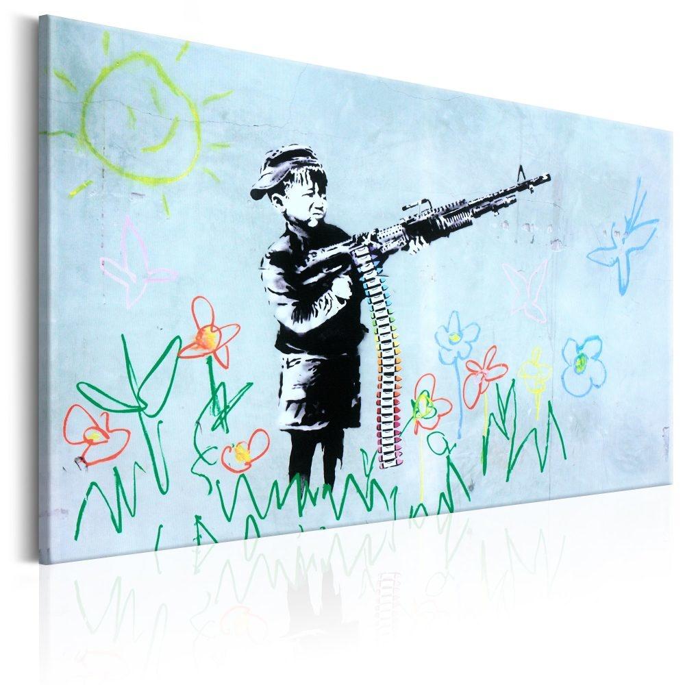 Schilderij - Jongen met geweer , Banksy