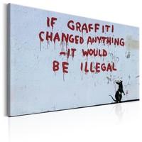 Schilderij - If Graffiti Changed Anything , Banksy