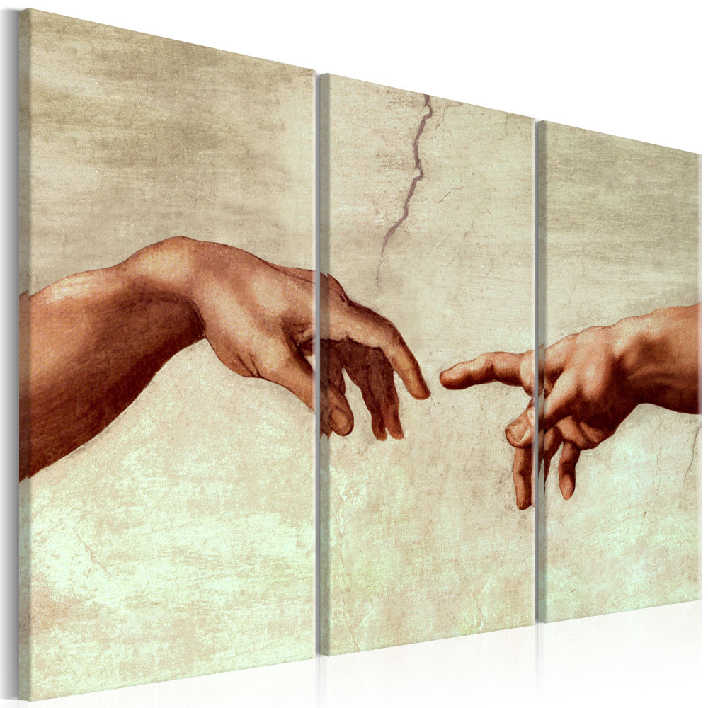 Schilderij - Touch of God , Michelangelo , 3 luik