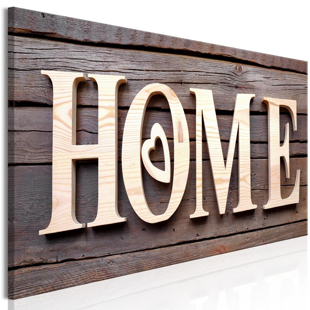 Schilderij - Home op hout , houtlook