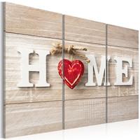 Schilderij - The Heart of the Home , hart , 3 luik