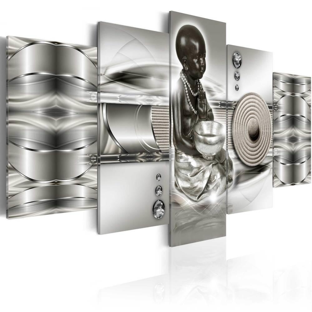 Schilderij - Abstracte Zen , 5 luik , zilverlook