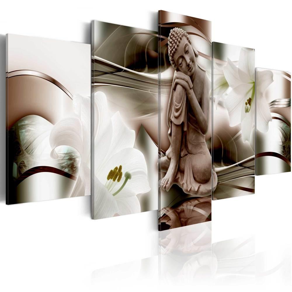 Schilderij - Peinzende Boeddha tussen bloemen , 5 luik