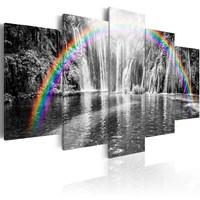 Schilderij - Regenboog bij grijze waterval , 5 luik