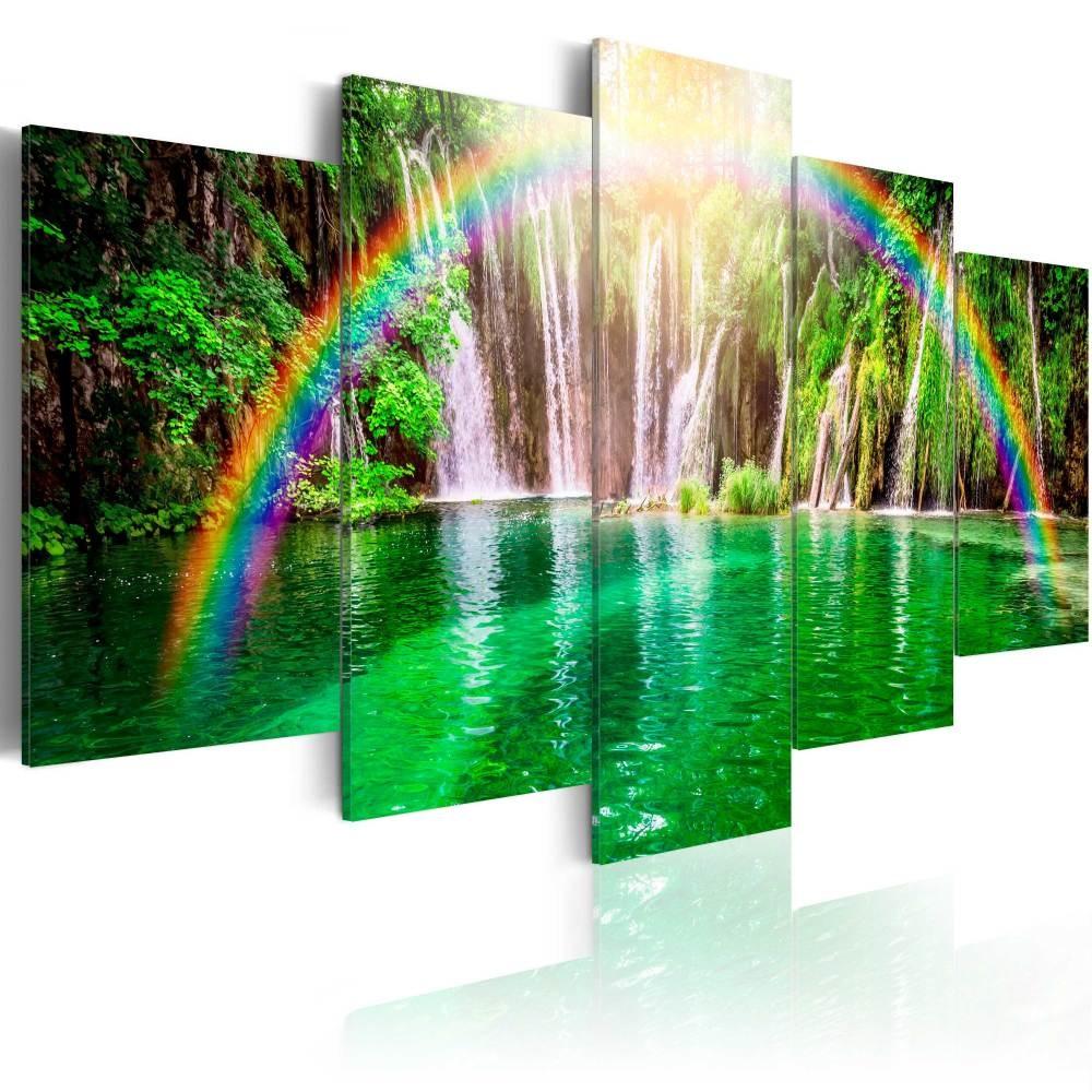 Schilderij - Waterval en Regenboog , 5 luik