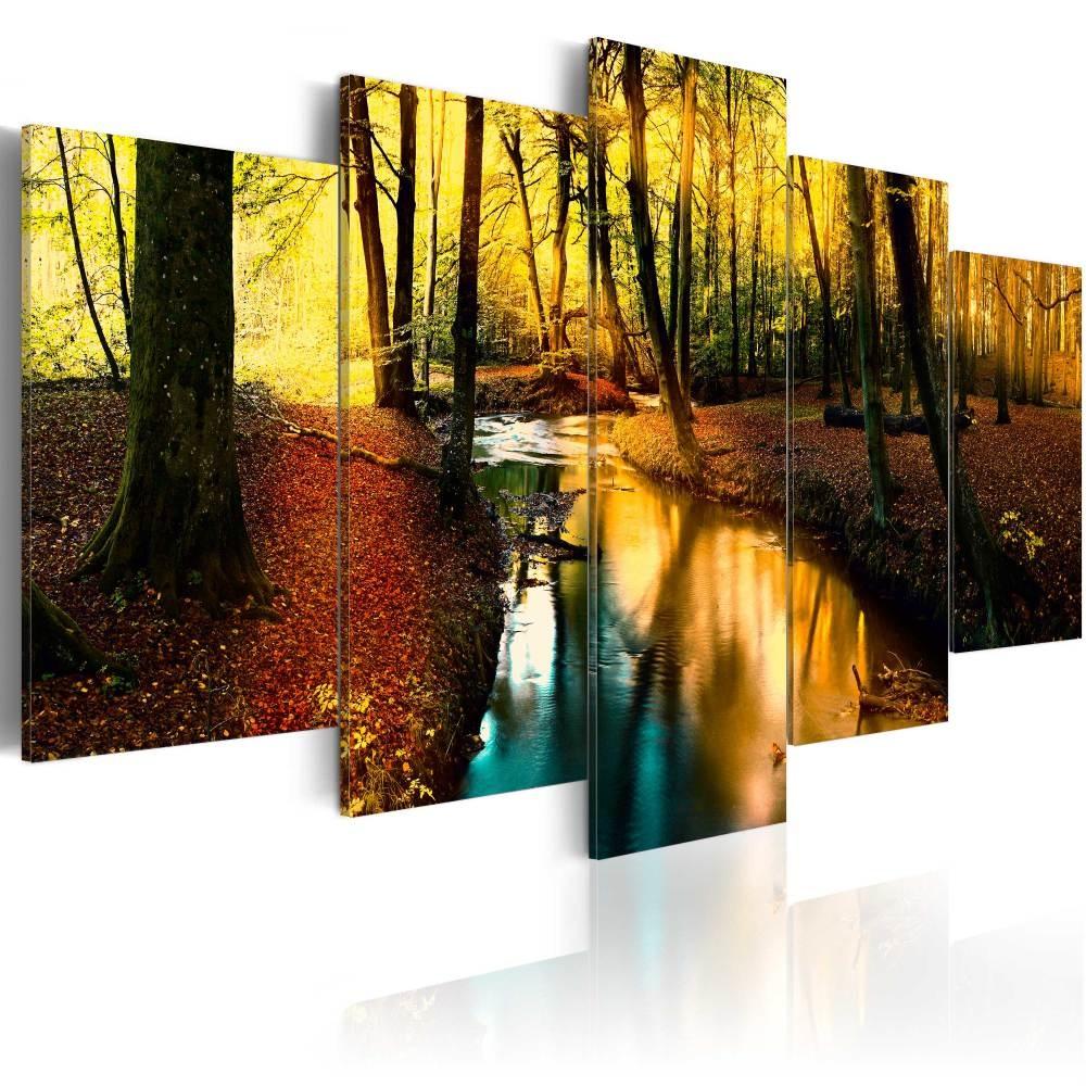 Schilderij - Herfst stilte , bos , 5 luik