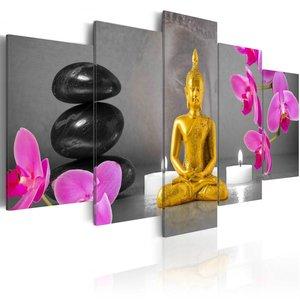 Schilderij - Zen: gouden Boeddha , 5 luik