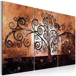 Schilderij - Chocolade magie , boom , 3 luik