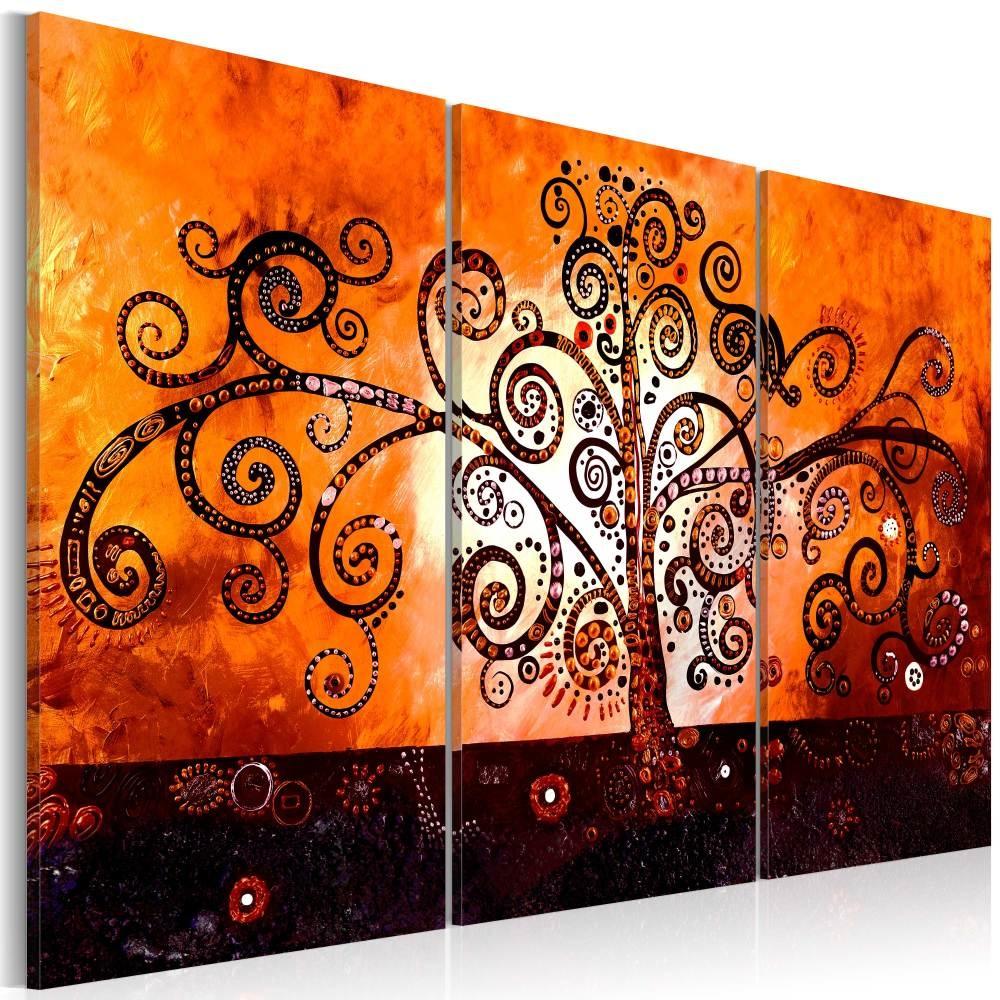 Schilderij - Geïnspireerd door Gustav Klimt , boom , 3 luik