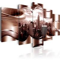 Schilderij - Bordeaux  New York , platinum look , 5 luik