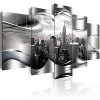 Schilderij - Platinum New York , platinum look , 5 luik