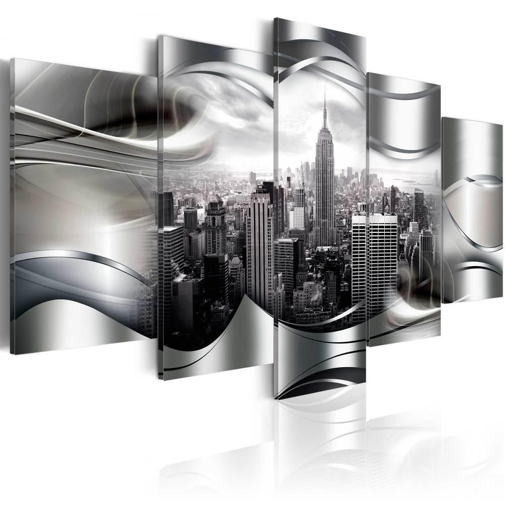Schilderij - Platinum New York , platinum look , 5 luik