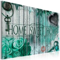 Schilderij -Home Sweet Home  in smaragd groen, 3 luik