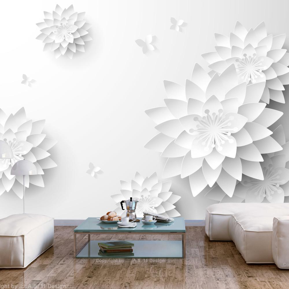 Fotobehang - Orientaalse witte bloemen
