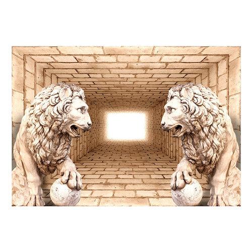Fotobehang - Mysterie van 2 leeuwen