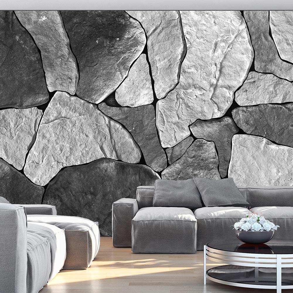 Fotobehang - grijze rotsblokken