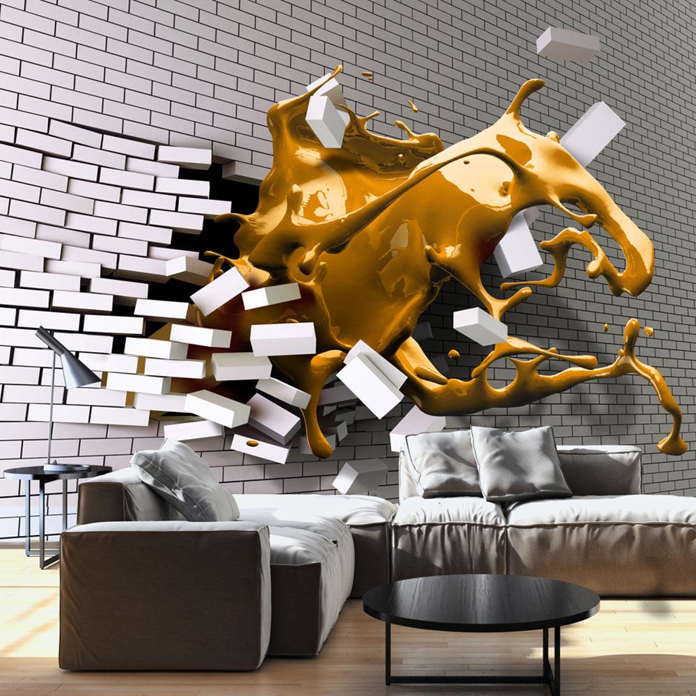 Fotobehang - Saffraan kleurige golf door witte muur