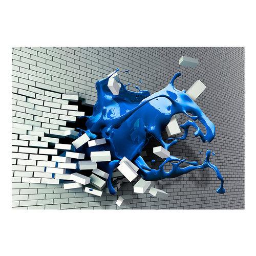 Fotobehang -Blauwe golf door witte muur