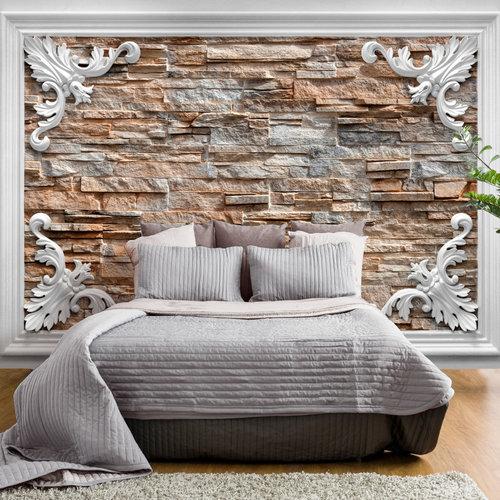 Fotobehang - Ingelijste stenen , Bruin, premium print vliesbehang