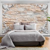 Fotobehang - Ingelijste stenen , beige, premium print vliesbehang