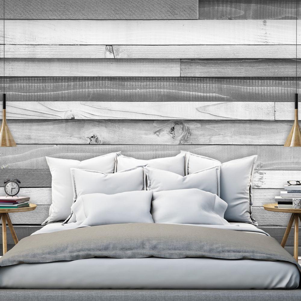 Fotobehang - Grijze varieteit van planken