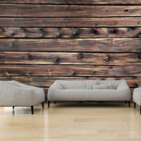 Fotobehang -Bruine planken