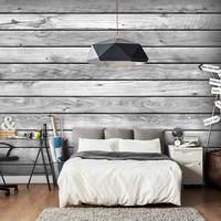Fotobehang -Grijze planken , houtlook II