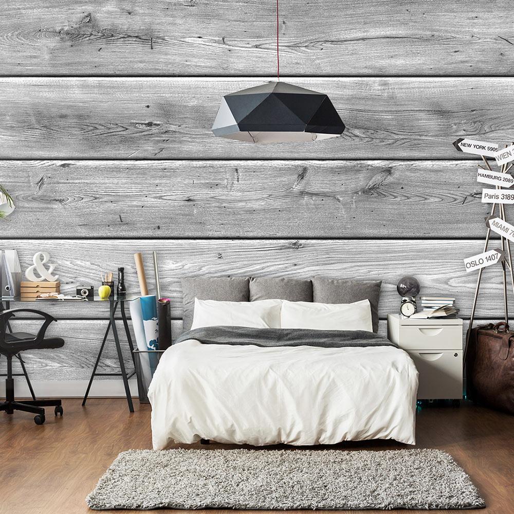 Fotobehang - Grijze planken , houtlook