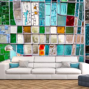 Fotobehang - Turquoise gekleurd glas