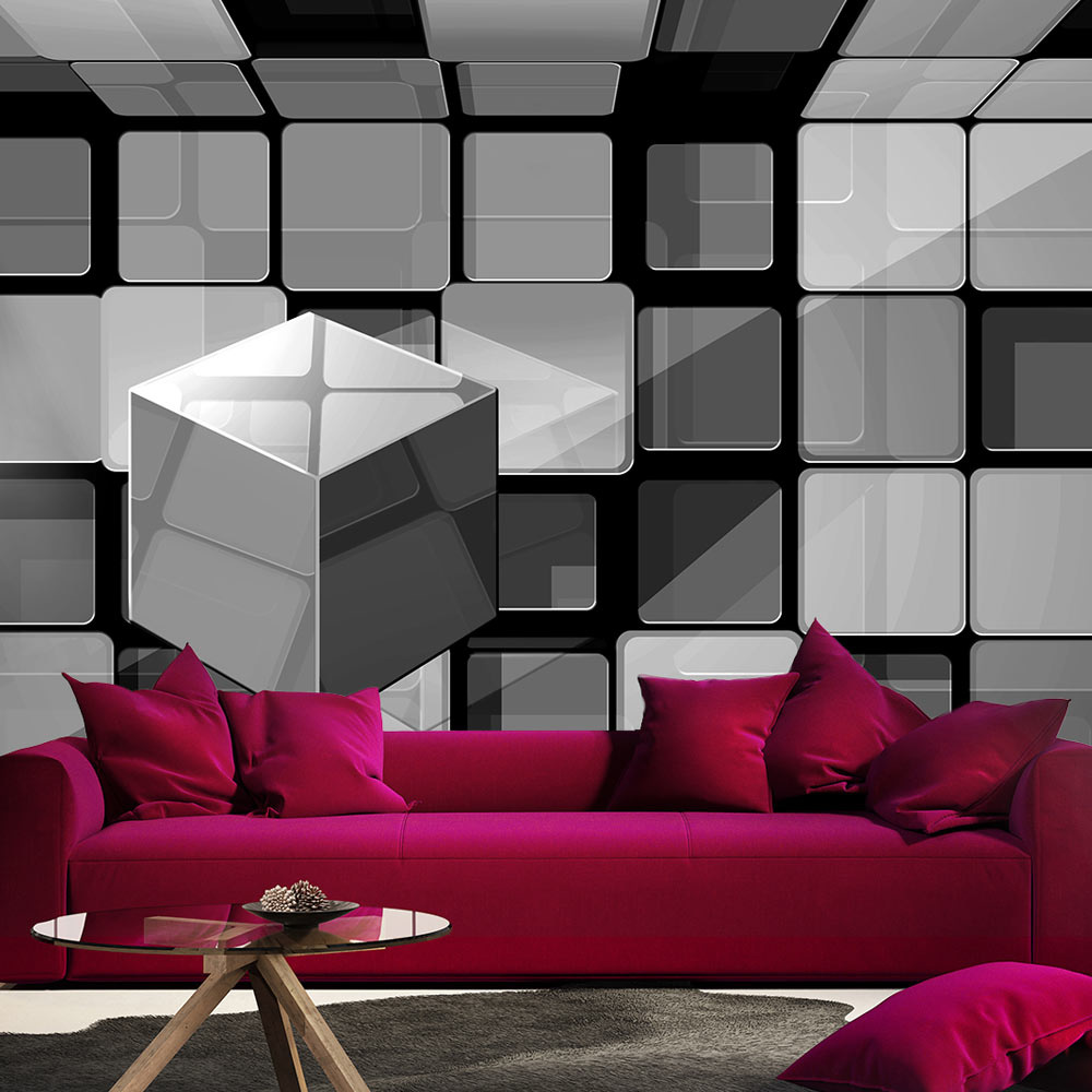 Fotobehang - Rubik's cube in Grijs