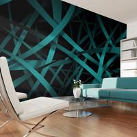 Fotobehang -Donkere achtergrond van een turquoise net