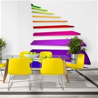 Fotobehang -Kleurrijke trap naar de hemel, premium print vliesbehang