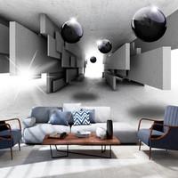 Fotobehang - Grens controle , zwarte ballen in een tunnel