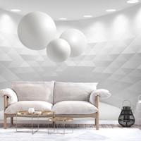 Fotobehang - Witte bollen in witte geometrische kamer