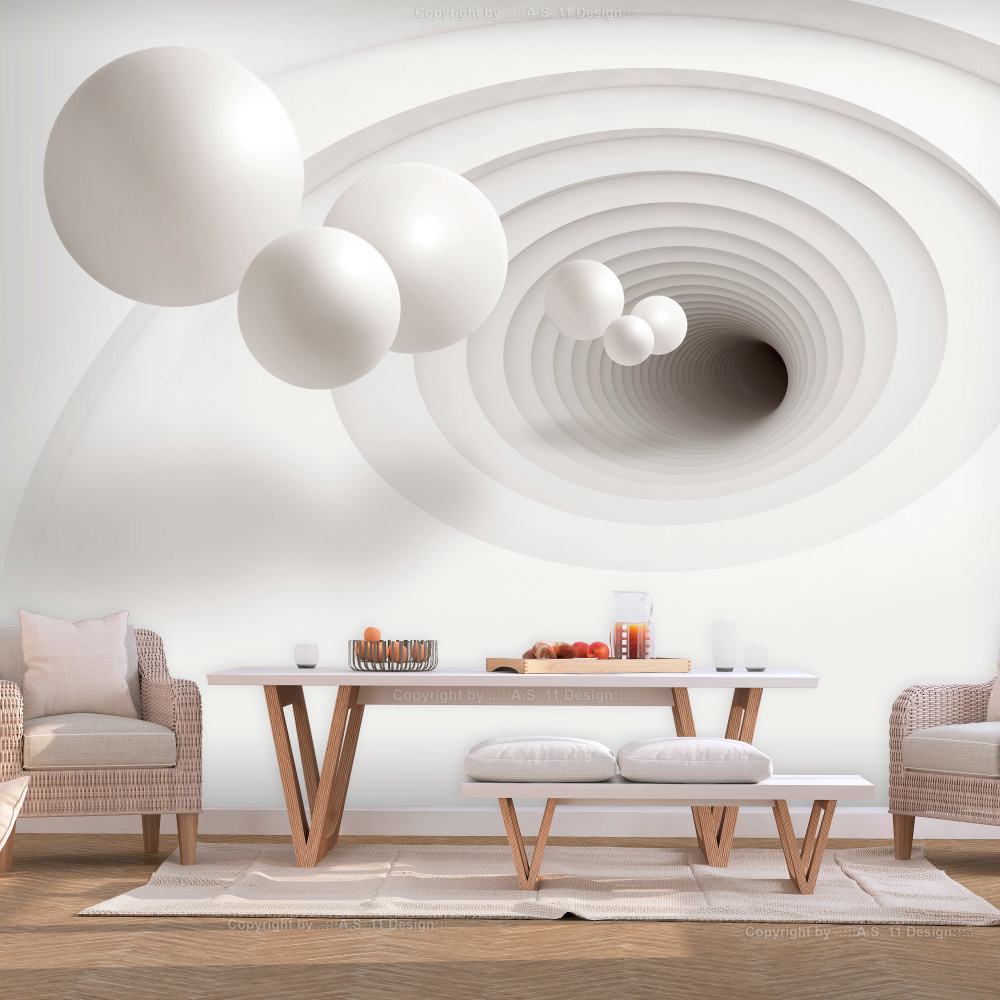 Fotobehang -Witte ballen in een witte tunnel