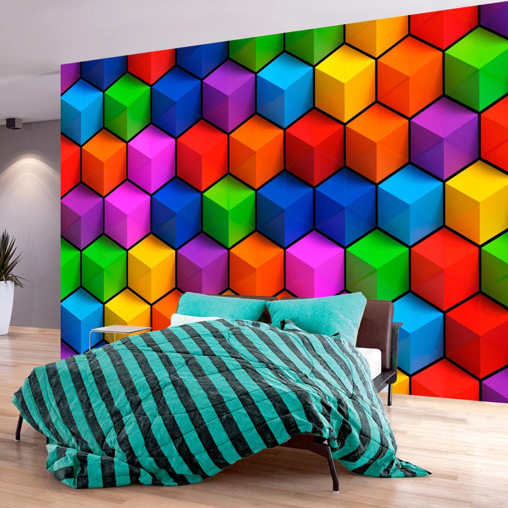 Fotobehang - Kleurrijke Geometrische Kubussen