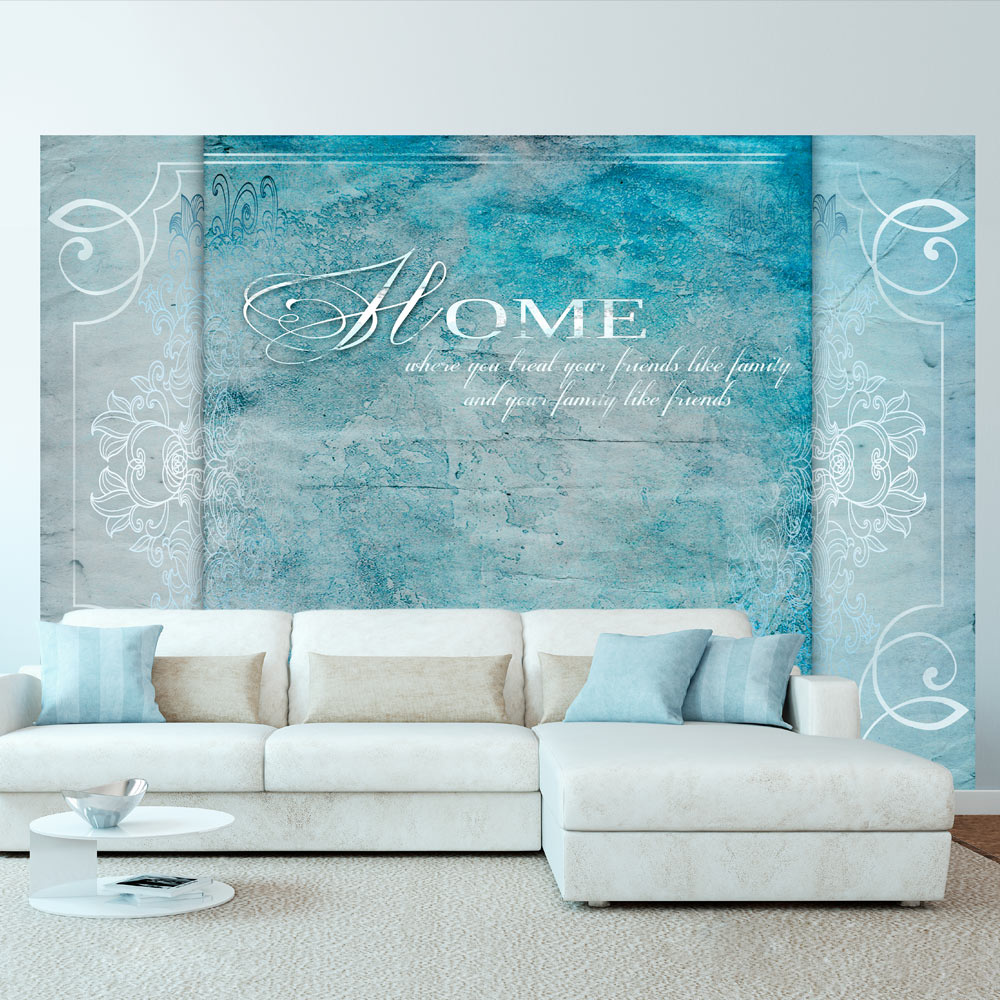 Fotobehang - Home, where you ... , in blauw