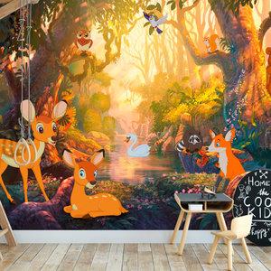 Fotobehang - Dieren in het bos, premium print vliesbehang
