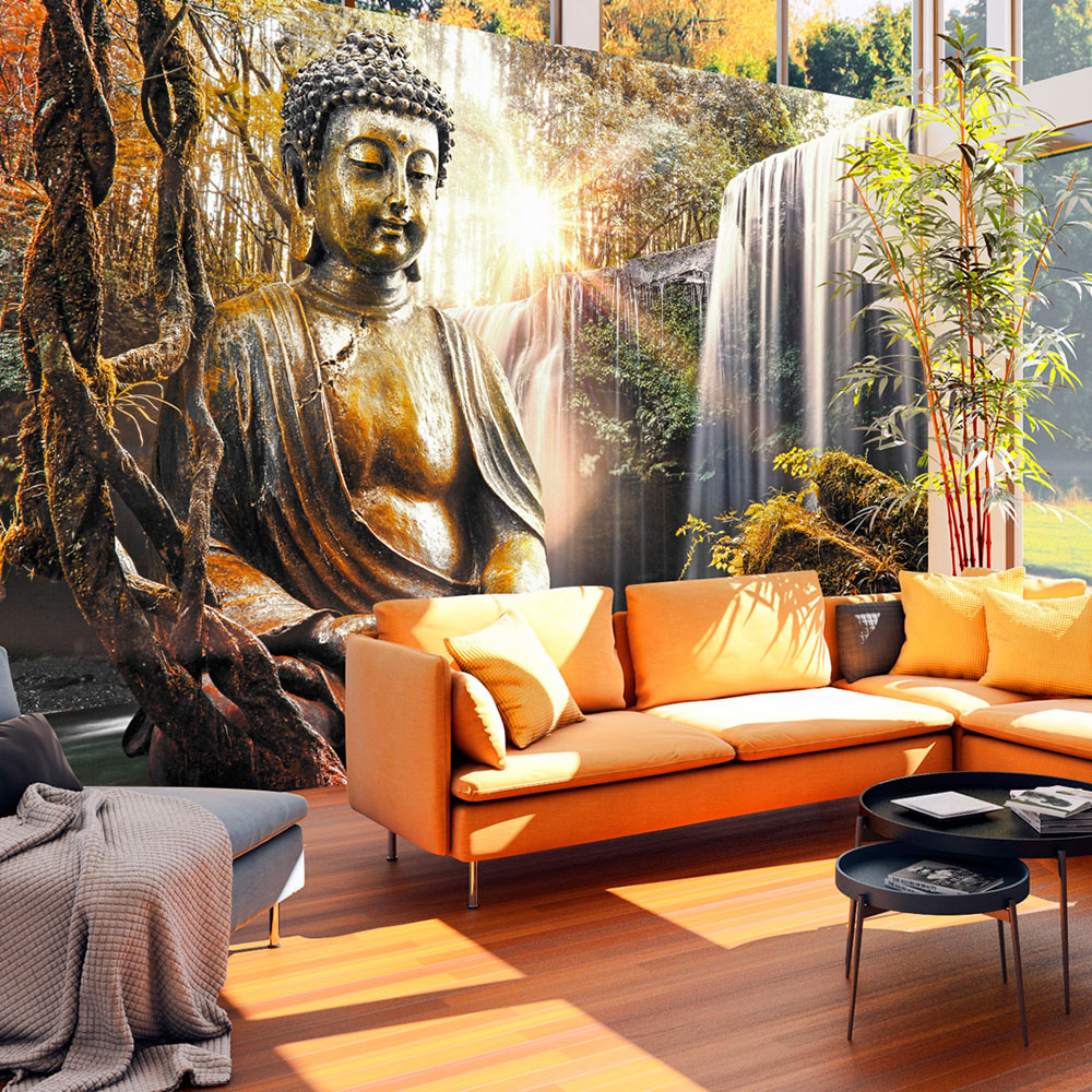 Fotobehang - Waterval van Overpeinzing , Boeddha