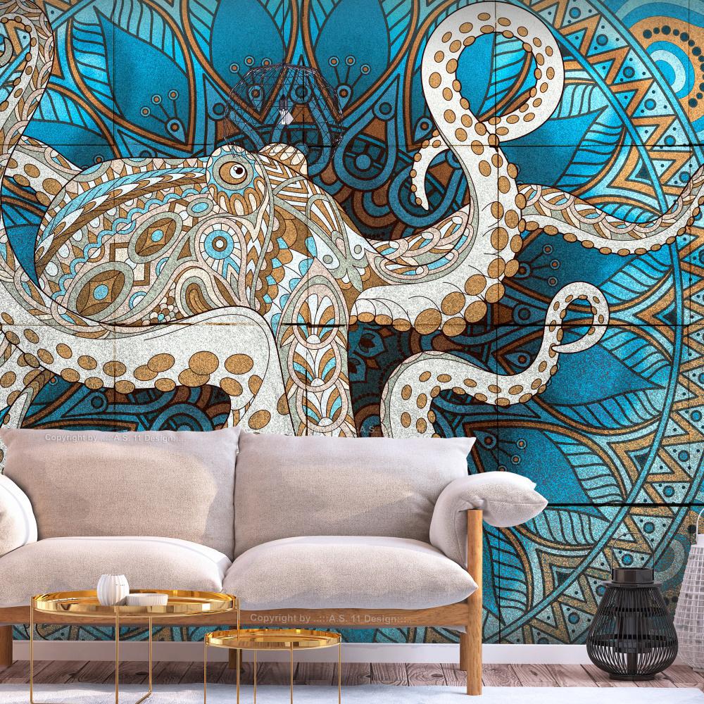 Fotobehang - Zen Octopus , Mandala