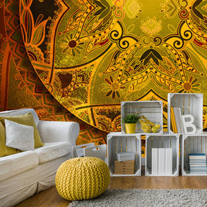 Fotobehang - Mandala: Oranje Poëzie