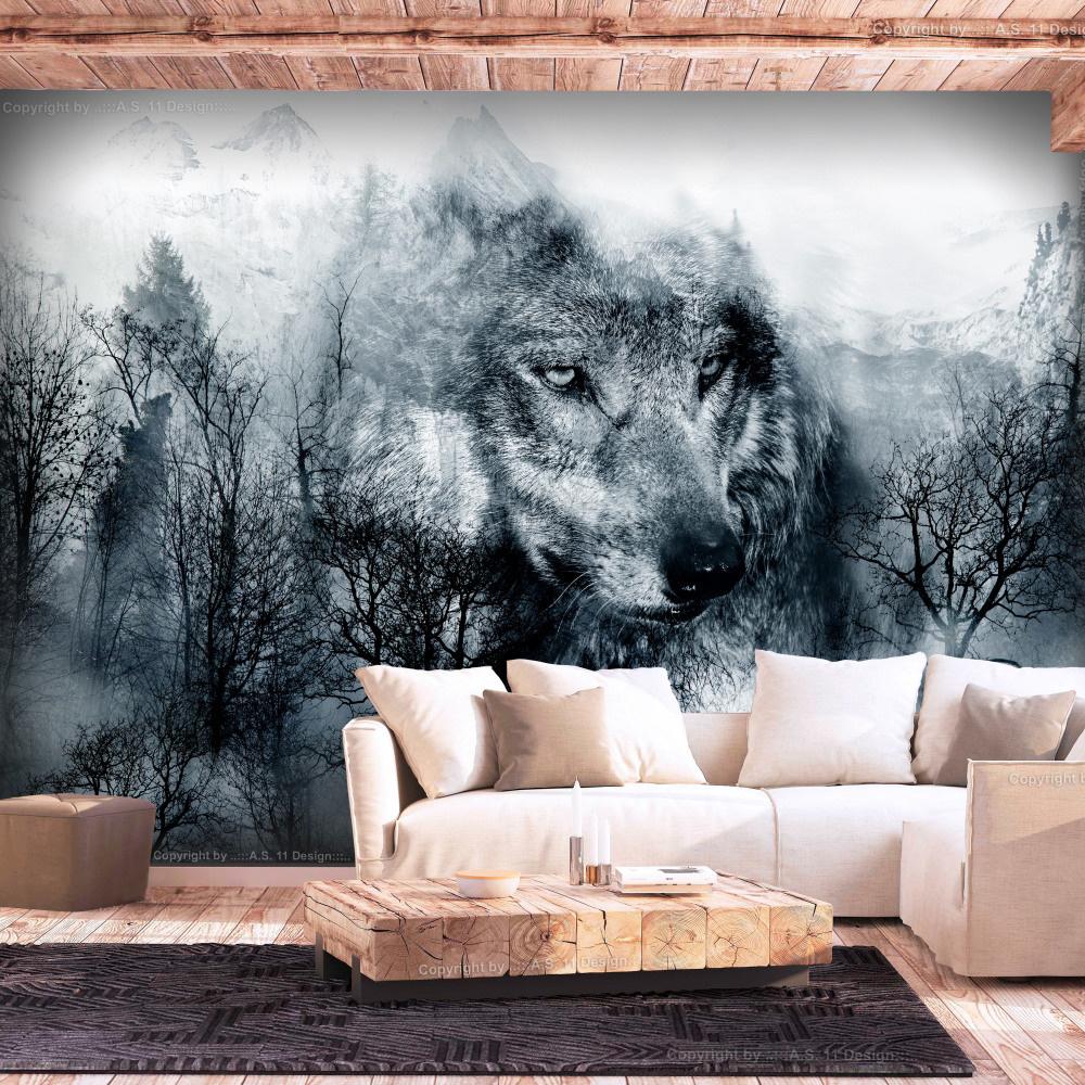 Fotobehang - Wolf in de bergen , Zwart Wit