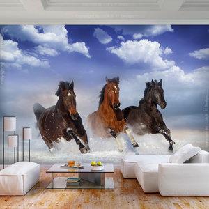 Fotobehang -Paarden in de sneeuw, premium print vliesbehang