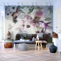 Fotobehang - Natuur in Waterverf , Vogels, premium print vliesbehang