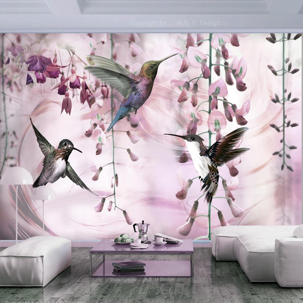 Fotobehang - Vliegende Kolibries met roze achtergrond