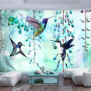 Fotobehang - Vliegende Kolibries op Turquoise achtergrond