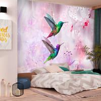 Fotobehang - Kleurrijke Kolibries op Lila achtergrond
