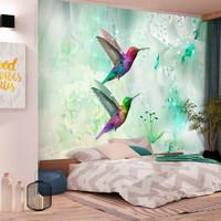 Fotobehang - Kleurrijke Kolibries op Groene achtergrond